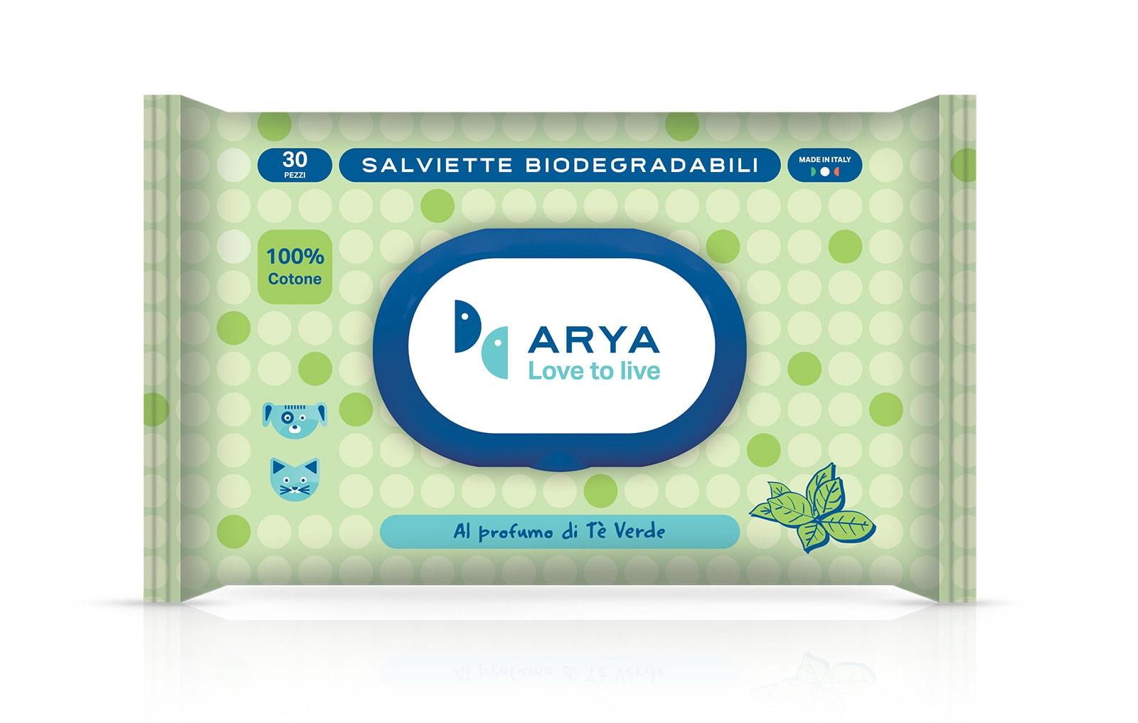 Salviette detergenti biodegradabili al tè verde